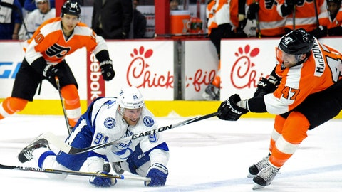 Jan 12, 2015; Philadelphia, PA, USA; Philadelphia Flyers defenseman Andrew MacDonald (47) tries to clear the puck past Tampa Bay Lightning center Steven Stamkos (91) during the first period at Wells Fargo Center. Mandatory Credit: Eric Hartline-USA TODAY Sports