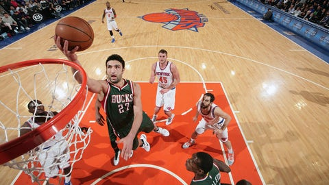 NEW YORK, NY -  JANUARY 4: Zaza Pachulia #27 of the Milwaukee Bucks goes for a lay up against the New York Knicks during the game on January 4, 2015 at Madison Square Garden in New York, New York. NOTE TO USER: User expressly acknowledges and agrees that, by downloading and or using this Photograph, user is consenting to the terms and conditions of the Getty Images License Agreement. Mandatory Copyright Notice: Copyright 2015 NBAE (Photo by Nathaniel Butler/NBAE via Getty Images)