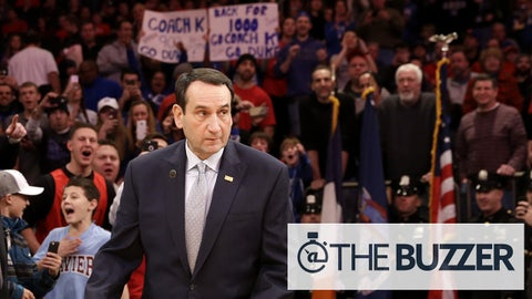 Duke head coach Mike Krzyzewski arrives to the court before an NCAA basketball game against St. John's, Sunday, Jan. 25, 2015 in New York. (AP Photo/Seth Wenig)