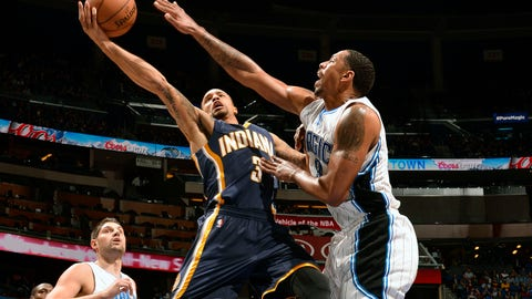 ORLANDO, FL - JANUARY 25: George Hill #3 of the Indiana Pacers goes up for a shot against the Orlando Magic on January 25, 2015 at Amway Center in Orlando, Florida. NOTE TO USER: User expressly acknowledges and agrees that, by downloading and or using this photograph, User is consenting to the terms and conditions of the Getty Images License Agreement. Mandatory Copyright Notice: Copyright 2014 NBAE (Photo by Fernando Medina/NBAE via Getty Images)