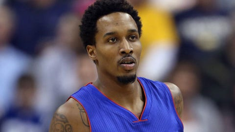 Jan 16, 2015; Indianapolis, IN, USA; Detroit Pistons guard Brandon Jennings (7) brings the ball up court against the Indiana Pacers at Bankers Life Fieldhouse. Mandatory Credit: Brian Spurlock-USA TODAY Sports