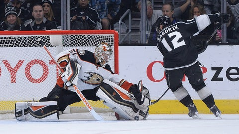 Jan 17, 2015; Los Angeles, CA, USA; Anaheim Ducks goalie Frederik Andersen (31) blocks a shot by Los Angeles Kings right wing Marian Gaborik (12) during the shootout in the game at Staples Center. Ducks won 3-2. Mandatory Credit: Jayne Kamin-Oncea-USA TODAY Sports