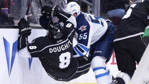 Jan 10, 2015; Los Angeles, CA, USA; Winnipeg Jets center Mark Scheifele (55) checks Los Angeles Kings defenseman Drew Doughty (8) in the third period of a game at Staples Center. Jets won 5-4 in a shootout. Mandatory Credit: Jayne Kamin-Oncea-USA TODAY Sports