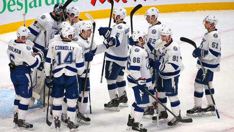 Jan 6, 2015; Montreal, Quebec, CAN; Tampa Bay Lightning players celebrate their win against Montreal Canadiens at Bell Centre. Mandatory Credit: Jean-Yves Ahern-USA TODAY Sports