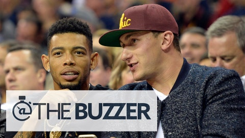 Oct 30, 2014; Cleveland, OH, USA; Cleveland Browns cornerback Joe Haden (left) and quarterback Johnny Manziel talk in the second quarter at Quicken Loans Arena. Mandatory Credit: David Richard-USA TODAY Sports