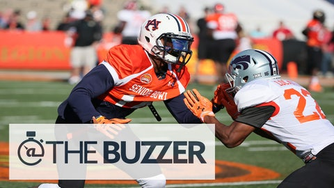 Auburn quarterback Nick Marshall (14) defends against Kansas State wide receiver Tyler Lockett (22) during the South team practice for the 2015 Senior Bowl at Ladd Peebles Stadium in Mobile, AL on January 21, 2015. (AP Photo/Johnny Vy)