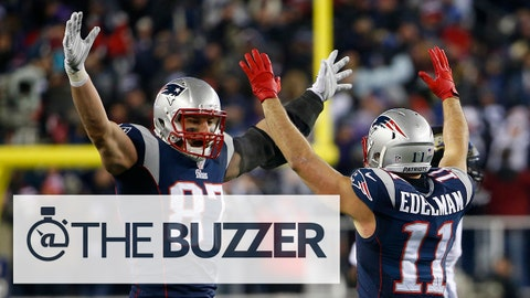 Jan 10, 2015; Foxborough, MA, USA; New England Patriots wide receiver Julian Edelman (11) celebrates with Patriots tight end Rob Gronkowski (87) after throwing a touchdown pass during the fourth quarter against the Baltimore Ravens in the 2014 AFC Divisional playoff football game at Gillette Stadium. The Patriots won 35-31. Mandatory Credit: Winslow Townson-USA TODAY Sports
