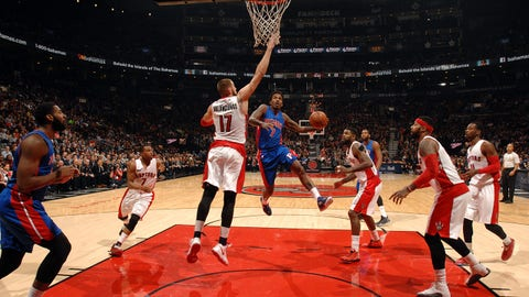 TORONTO, CANADA - January 12: Brandon Jennings #7 of the Detroit Pistons goes up for a shot against the Toronto Raptors on January 12, 2015 at the Air Canada Centre in Toronto, Ontario, Canada.  NOTE TO USER: User expressly acknowledges and agrees that, by downloading and or using this Photograph, user is consenting to the terms and conditions of the Getty Images License Agreement.  Mandatory Copyright Notice: Copyright 2015 NBAE (Photo by Ron Turenne/NBAE via Getty Images)