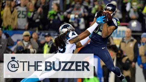January 10, 2015; Seattle, WA, USA; Seattle Seahawks wide receiver Doug Baldwin (89) catches a touchdown pass against the Carolina Panthers during the first half in the 2014 NFC Divisional playoff football game at CenturyLink Field. Mandatory Credit: Steven Bisig-USA TODAY Sports