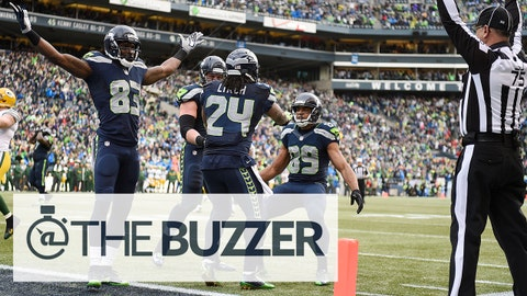 January 18, 2015; Seattle, WA, USA; Seattle Seahawks running back Marshawn Lynch (24) celebrates with wide receiver Ricardo Lockette (83) and wide receiver Doug Baldwin (89) after scoring a touchdown against the Green Bay Packers during the second half in the NFC Championship game at CenturyLink Field. Mandatory Credit: Kyle Terada-USA TODAY Sports