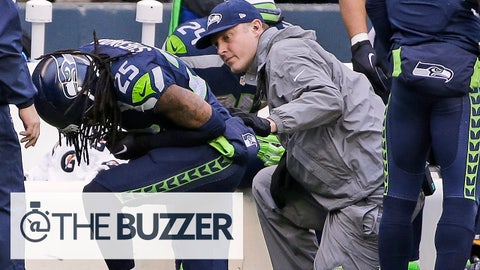 Seattle Seahawks' Richard Sherman appears hurt after a play during the second half of the NFL football NFC Championship game against the Green Bay Packers Sunday, Jan. 18, 2015, in Seattle. (AP Photo/David J. Phillip)