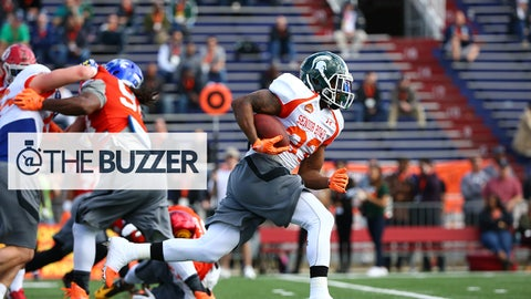 Michigan State running back Jeremy Langford (33) of the North team runs up the field during the North team practice for the 2015 Senior Bowl at Ladd Peebles Stadium in Mobile, AL on January 20, 2015. (AP Photo/Johnny Vy)