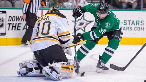 Jan 20, 2015; Dallas, TX, USA; Boston Bruins goalie Tuukka Rask (40) makes a save on a shot by Dallas Stars center Vernon Fiddler (38) during the second period at the American Airlines Center. Fiddler scores a goal in the second. Mandatory Credit: Jerome Miron-USA TODAY Sports