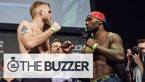 Alexander 'The Mauler' Gustafsson (L) of Sweden and US Anthony 'Rumble' Johnson pose for photos following the weigh-in for Saturday's UFC light heavyweight championship mixed martial arts bout at Tele2 Arena in Stockholm, Sweden, on January 23, 2015.  AFP PHOTO / TT NEWS AGENCY / Henrik Montgomery /  SWEDEN OUT        (Photo credit should read HENRIK MONTGOMERY/AFP/Getty Images)