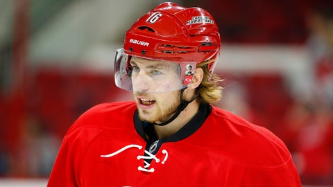 Jan 16, 2015; Raleigh, NC, USA; Carolina Hurricanes forward Elias Lindholm (16) looks on before the game against the Vancouver Canucks at PNC Arena. The Vancouver Canucks defeated the Carolina Hurricanes 3-0. Mandatory Credit: James Guillory-USA TODAY Sports