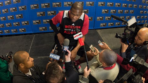 Feb 14, 2015; New York, NY, USA; Western Conference forward Kevin Durant of the Oklahoma City Thunder (35) addresses the media during practice at Madison Square Garden. Mandatory Credit: Kyle Terada-USA TODAY Sports