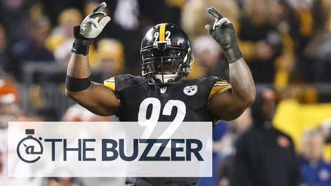 Dec 28, 2014; Pittsburgh, PA, USA; Pittsburgh Steelers outside linebacker James Harrison (92) reacts on the field against the Cincinnati Bengals during the fourth quarter at Heinz Field. The Steelers won 27-17. Mandatory Credit: Charles LeClaire-USA TODAY Sports