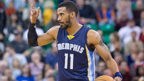 Feb 4, 2015; Salt Lake City, UT, USA; Memphis Grizzlies guard Mike Conley (11) calls a play during the first half against the Utah Jazz at EnergySolutions Arena. Mandatory Credit: Russ Isabella-USA TODAY Sports