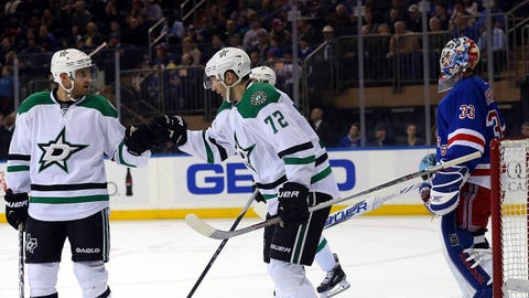 Feb 8, 2015; New York, NY, USA; Dallas Stars right wing Erik Cole (72) celebrates after scoring a goal on New York Rangers goalie Cam Talbot (33) during the second period at Madison Square Garden. Mandatory Credit: Adam Hunger-USA TODAY Sports