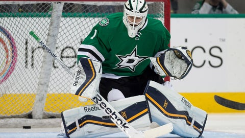 Feb 13, 2015; Dallas, TX, USA; Dallas Stars goalie Jhonas Enroth (1) skates in warm-ups prior to the game against the Florida Panthers at the American Airlines Center. The Stars acquired Enroth from the Buffalo Sabres in trade. Mandatory Credit: Jerome Miron-USA TODAY Sports