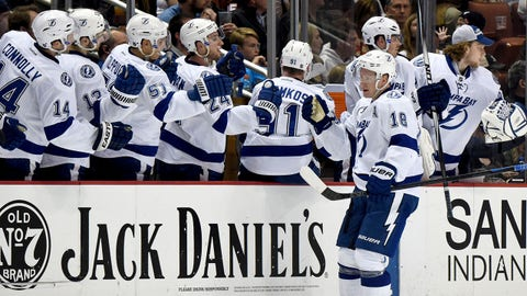 Feb 18, 2015; Anaheim, CA, USA; Tampa Bay Lightning left wing Ondrej Palat (18) is congratulated by teammates after scoring a goal in the second period against the Anaheim Ducks at Honda Center. Mandatory Credit: Kirby Lee-USA TODAY Sports