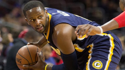 Feb 20, 2015; Philadelphia, PA, USA; Indiana Pacers guard C.J. Miles (0) looks for an opening against the Philadelphia 76ers during the second half at Wells Fargo Center. The Pacers defeated the 76ers 106-95. Mandatory Credit: Bill Streicher-USA TODAY Sports