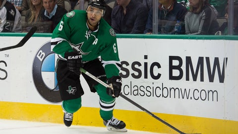 Feb 21, 2015; Dallas, TX, USA; Dallas Stars defenseman Trevor Daley (6) skates with the puck during the second period against the Detroit Red Wings at the American Airlines Center. Daley scores a goal in the second. Mandatory Credit: Jerome Miron-USA TODAY Sports