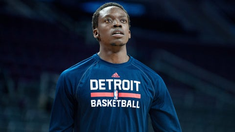 Feb 22, 2015; Auburn Hills, MI, USA; Detroit Pistons guard Reggie Jackson (1) looks on before the game against the Washington Wizards at The Palace of Auburn Hills. Mandatory Credit: Tim Fuller-USA TODAY Sports