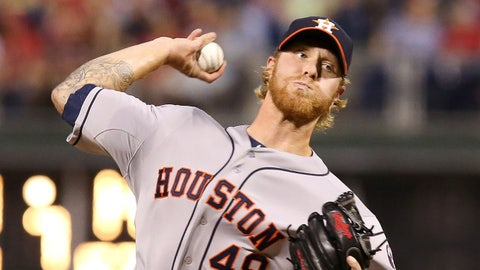 Aug 6, 2014; Philadelphia, PA, USA; Houston Astros relief pitcher Mike Foltynewicz (48) pitches during the seventh inning of a game against the Philadelphia Phillies at Citizens Bank Park. The Phillies won 10-3. Mandatory Credit: Bill Streicher-USA TODAY Sports