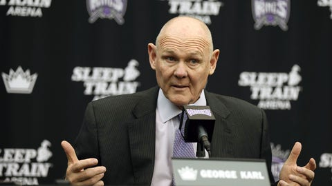 Feb 17, 2015; Sacramento, CA, USA; Sacramento Kings head coach George Karl addresses the media during the press conference to formally announce Karl as new head coach of the Sacramento Kings at the Kings Practice Facility Court. Mandatory Credit: Kelley L Cox-USA TODAY Sports