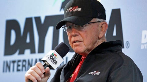 Team owner Joe Gibbs talks about the injuries to driver Kyle Busch during a news conference before the Daytona 500 NASCAR Sprint Cup series auto race at Daytona International Speedway, Sunday, Feb. 22, 2015, in Daytona Beach, Fla. (AP Photo/Terry Renna)