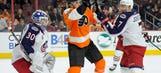 Calvert nets 2 goals, Blue Jackets rout Flyers 5-2