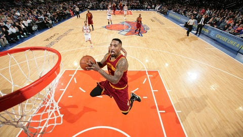 NEW YORK, NY - FEBRUARY 22: J.R. Smith #5 of the Cleveland Cavaliers goes for the basket against the Cleveland Cavaliers during the game on February 22, 2015 at Madison Square Garden in New York, New York. NOTE TO USER: User expressly acknowledges and agrees that, by downloading and/or using this photograph, User is consenting to the terms and conditions of the Getty Images License Agreement. Mandatory Copyright Notice: Copyright 2015 NBAE (Photo by Nathaniel Butler/NBAE via Getty Images)