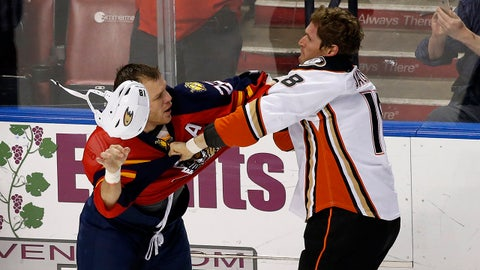 Feb 10, 2015; Sunrise, FL, USA; Florida Panthers right wing Shawn Thornton (22) fights with Anaheim Ducks right wing Tim Jackman (18) in the first period at BB&T Center. Mandatory Credit: Robert Mayer-USA TODAY Sports