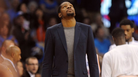 Mar 13, 2015; Oklahoma City, OK, USA;  Oklahoma City Thunder forward Kevin Durant (35) looks up at the scoreboard during action against the Minnesota Timberwolves during the fourth quarter at Chesapeake Energy Arena. Mandatory Credit: Mark D. Smith-USA TODAY Sports