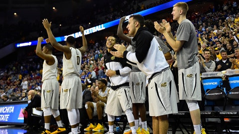 Mar 20, 2015; Omaha, NE, USA; Wichita State Shockers players celebrate from the bench during the second half in the second round of the 2015 NCAA Tournament against the Indiana Hoosiers at CenturyLink Center. Mandatory Credit: Jasen Vinlove-USA TODAY Sports