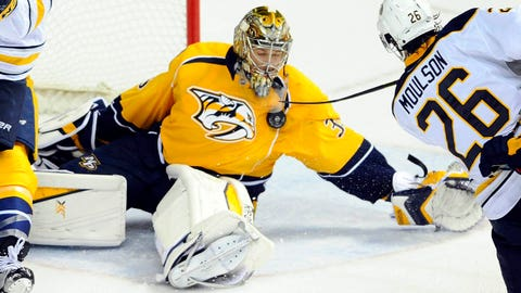 Mar 21, 2015; Nashville, TN, USA; Nashville Predators goalie Pekka Rinne (35) makes a save during the third period against the Buffalo Sabres at Bridgestone Arena.  The Predators won 3-0. Mandatory Credit: Christopher Hanewinckel-USA TODAY Sports