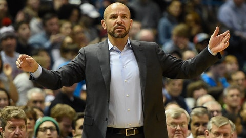 Mar 22, 2015; Milwaukee, WI, USA; Milwaukee Bucks head coach Jason Kidd calls a play in the second quarter during the game against the Cleveland Cavaliers at BMO Harris Bradley Center. Mandatory Credit: Benny Sieu-USA TODAY Sports