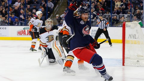 Mar 24, 2015; Columbus, OH, USA; Columbus Blue Jackets left wing Scott Hartnell (43) celebrates a goal against the Anaheim Ducks during the second period at Nationwide Arena. Mandatory Credit: Russell LaBounty-USA TODAY Sports