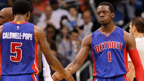 Mar 27, 2015; Orlando, FL, USA; Detroit Pistons guard Reggie Jackson (1) high fives guard Kentavious Caldwell-Pope (5) against the Orlando Magic during the second half at Amway Center. Detroit Pistons defeated the Orlando Magic 111-97. Mandatory Credit: Kim Klement-USA TODAY Sports