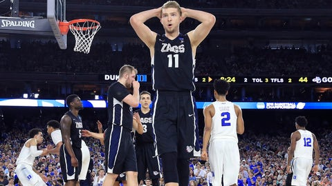 Mar 29, 2015; Houston, TX, USA; Gonzaga Bulldogs forward Domantas Sabonis (11) reacts against the Duke Blue Devils during the second half in the finals of the south regional of the 2015 NCAA Tournament at NRG Stadium. Mandatory Credit: Kevin Jairaj-USA TODAY Sports