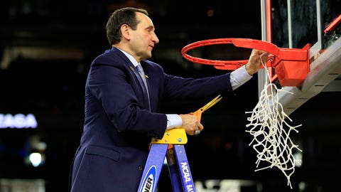 Mar 29, 2015; Houston, TX, USA; Duke Blue Devils head coach Mike Krzyzewski cuts down the net after defeating the Gonzaga Bulldogs in the finals of the south regional of the 2015 NCAA Tournament at NRG Stadium. Mandatory Credit: Kevin Jairaj-USA TODAY Sports