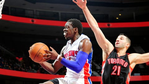 AUBURN HILLS, MI - MARCH 24:  Reggie Jackson #1 of the Detroit Pistons goes to the basket against Greivis Vasquez #21 of the Toronto Raptors on March 24, 2015 at the Palace of Auburn Hills in Auburn Hills, Michigan. NOTE TO USER: User expressly acknowledges and agrees that, by downloading and or using this Photograph, user is consenting to the terms and conditions of the Getty Images License Agreement. Mandatory Copyright Notice: Copyright 2015 NBAE (Photo by B. Sevald/Einstein/NBAE via Getty Images)
