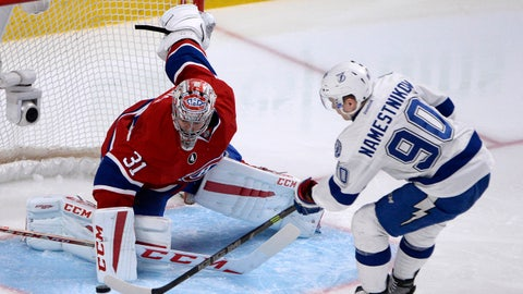 Mar 30, 2015; Montreal, Quebec, CAN; Tampa Bay Lightning forward Vladislav Namestnikov (90) scores a goal against Montreal Canadiens goalie Carey Price (31) during the second period at the Bell Centre. Mandatory Credit: Eric Bolte-USA TODAY Sports