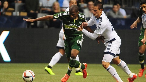 Mar 28, 2015; Vancouver, British Columbia, CAN; Vancouver Whitecaps forward Octavio Rivero (29) holds Portland Timbers midfielder Darlington Nagbe (6) during the first half at BC Place. Mandatory Credit: Anne-Marie Sorvin-USA TODAY Sports