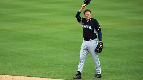 Mar 12, 2015; Mesa, AZ, USA; Film actor Will Ferrell is introduced as a Seattle Mariners infielder in the first inning during a spring training game against the Oakland Athletics at HoHoKam Stadium. Mandatory Credit: Allan Henry-USA TODAY Sports