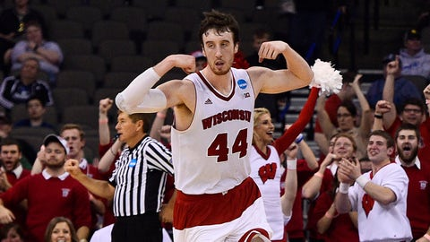 Mar 22, 2015; Omaha, NE, USA; Wisconsin Badgers forward Frank Kaminsky (44) celebrates after making a basket against the Oregon Ducks during the second half in the third round of the 2015 NCAA Tournament at CenturyLink Center. Mandatory Credit: Jasen Vinlove-USA TODAY Sports