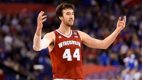 Apr 4, 2015; Indianapolis, IN, USA; Wisconsin Badgers forward Frank Kaminsky (44) reacts against the Kentucky Wildcats in the second half of the 2015 NCAA Men's Division I Championship semi-final game at Lucas Oil Stadium. Mandatory Credit: Bob Donnan-USA TODAY Sports