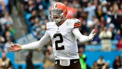 Dec 21, 2014; Charlotte, NC, USA; Cleveland Browns quarterback Johnny Manziel (2) reacts in the second quarter at Bank of America Stadium. Mandatory Credit: Bob Donnan-USA TODAY Sports