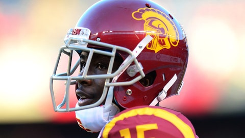 Dec 27, 2014; San Diego, CA, USA; USC Trojans wide receiver Nelson Agholor (15) looks on before the game against the Nebraska Cornhuskers in the 2014 Holiday Bowl at Qualcomm Stadium. Mandatory Credit: Jake Roth-USA TODAY Sports